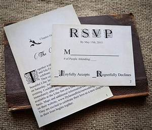 novel idea literary wedding invitation set print With wedding invitation pdf print yourself