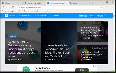 edge chromium browser microsoft chrome version bookmarks link bar favourites leaks mspoweruser leaked manage based interested since never early well