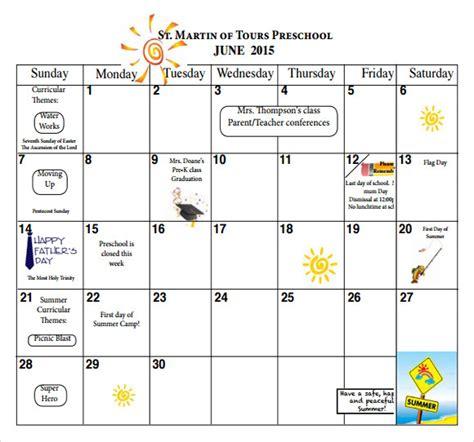 9 sample preschool calendar templates to sample 994 | Preschool Monthly Calendar PDF