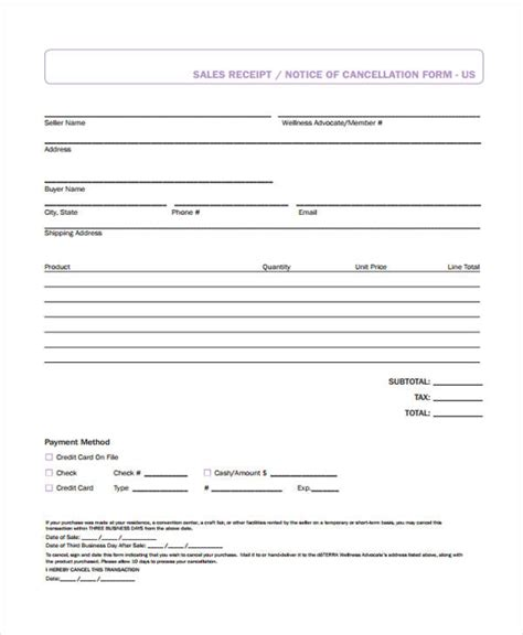 printable receipt forms   ms word excel