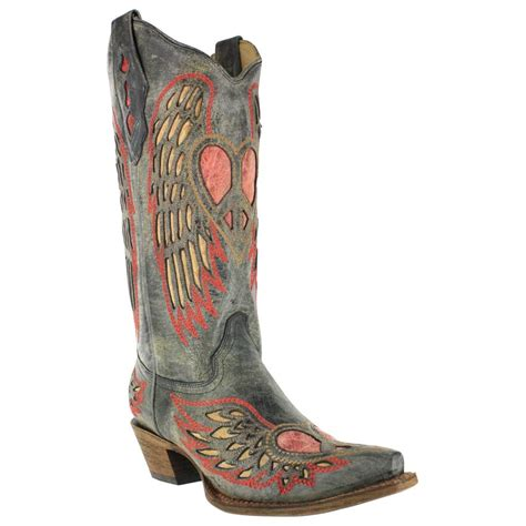 boots corral western heart wing snip toe boot a1975 wings