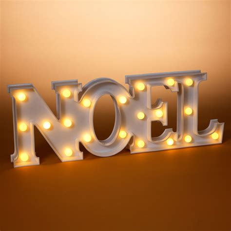 gerson  bo led lighted white plastic noel sign