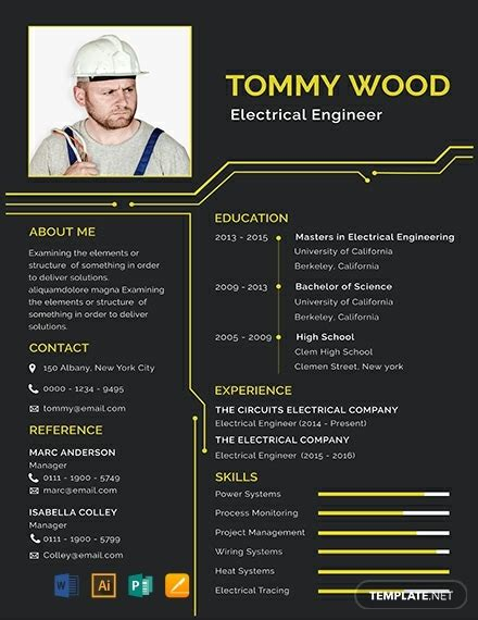 electrical engineer resume template word psd