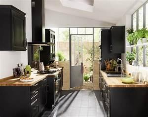 Plan De Travail 3 M : cuisine noir laque plan de travail bois ~ Farleysfitness.com Idées de Décoration