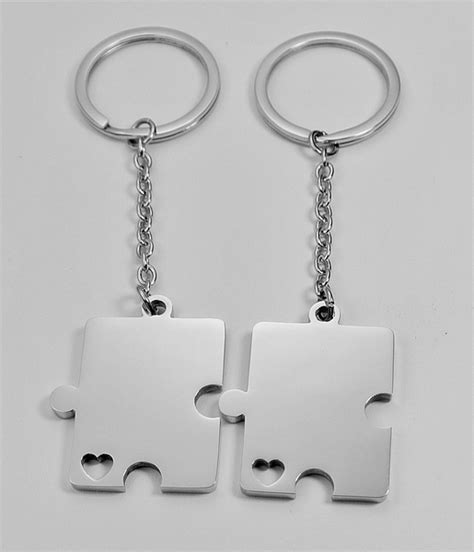 stainless steel puzzle pieces keychain set keychains engraved