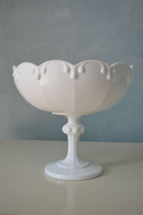 vintage white milk glass pedestal bowl compote