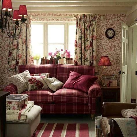 Laura Ashley. Red Tartan sofa. Cottage living room