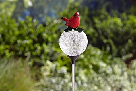 essential garden solar bird cracked glass cardinal