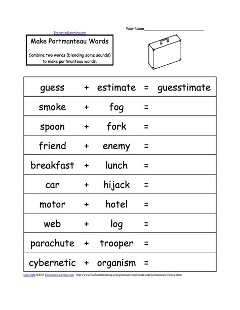 Boat Building Place Crossword by Portmanteau Words Printable Worksheets Enchantedlearning