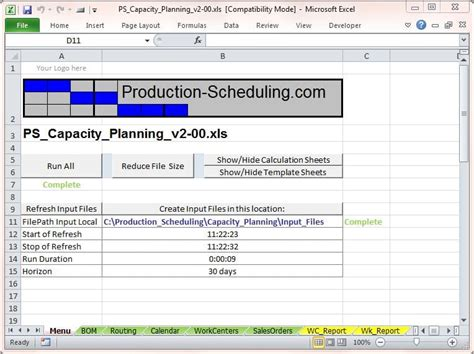 capacity planning tool  excel template
