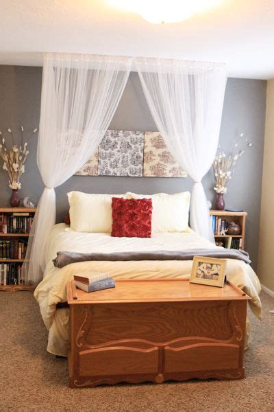 poster bed tie  corners  put fake flowers home bedroom home curtain