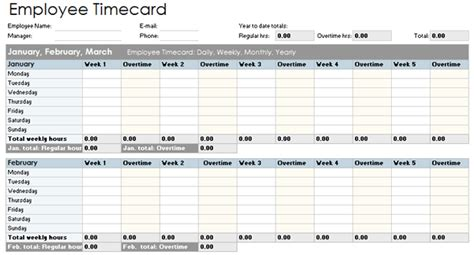 employee timecard template daily weekly monthly