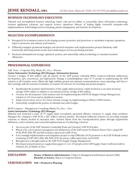 it manager project resume sle