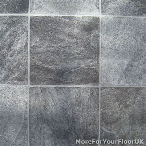 Grey Stone Tile Vinyl Flooring   Kitchen Bathroom Lino   eBay