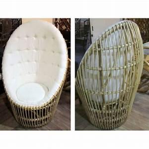 Fauteuil En Oeuf : fauteuil oeuf en rotin avec tissu ~ Farleysfitness.com Idées de Décoration