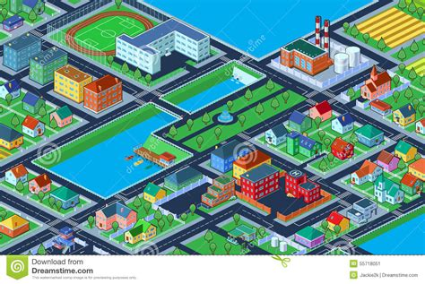 colorful isometric city  lots  buildings stock vector illustration  architecture