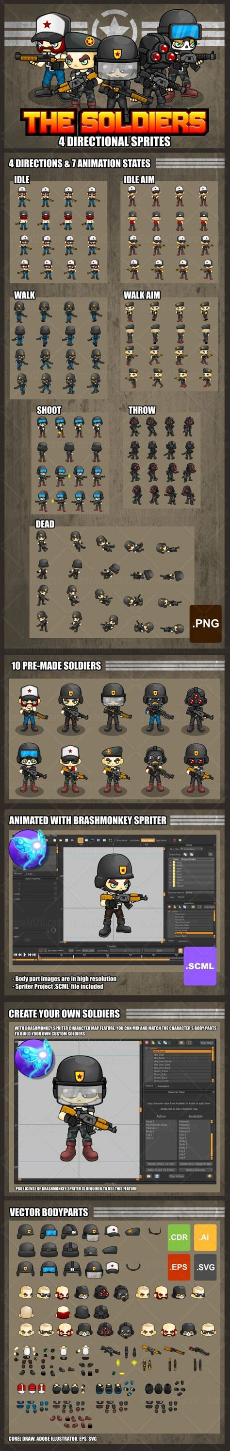 A Collection Of Soldier Sprites For Creating A 2d Top Down