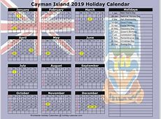 Cayman Islands 2018 2019 Holiday Calendar