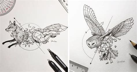 Intricate Drawings Wild Animals Fused With Geometric