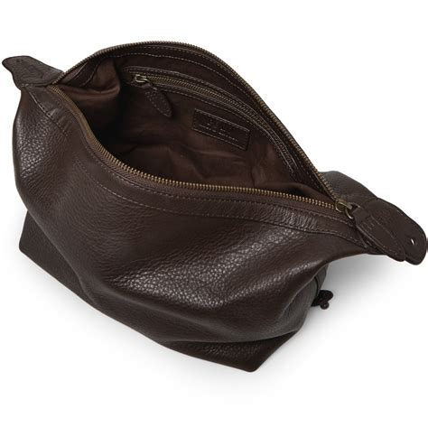 polo ralph leather wash bag in brown for lyst