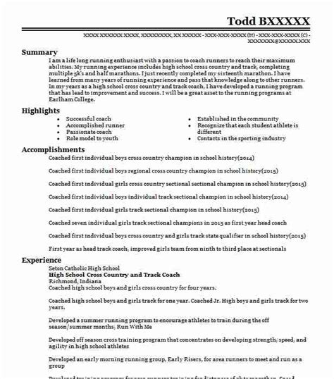 cross country track athlete resume  north