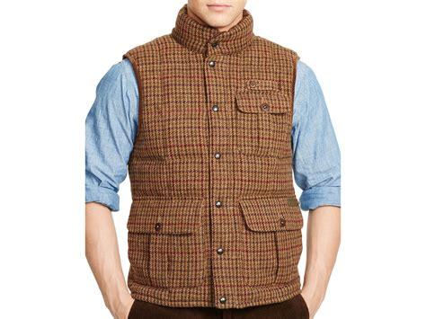 Ralph Lauren Polo Tweed Down Vest In Brown For Men