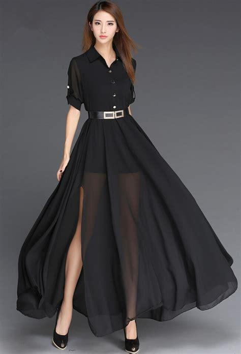 woman dress chiffon  black  white long dress korea