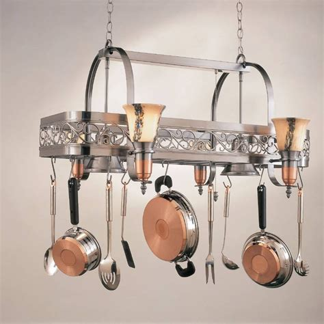 Copper Pot Rack With Lights by 15 Ideas Of Pot Rack With Lights Fixtures