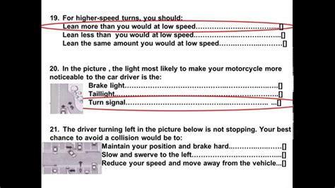 Dmv Motorcycle Released Test Questions Part 2 2014