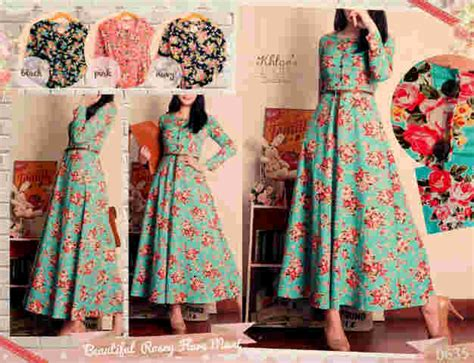 melyne flowery katun maxi dress restock limited stock 0635 beautiful rosey flare maxi