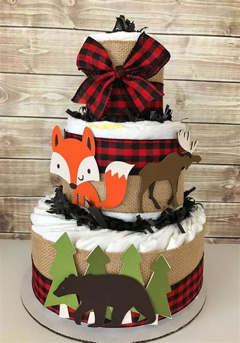 woodland lumberjack baby shower diaper cake