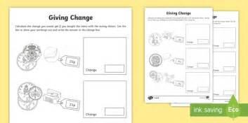 giving change ks1 activity sheets money maths numeracy