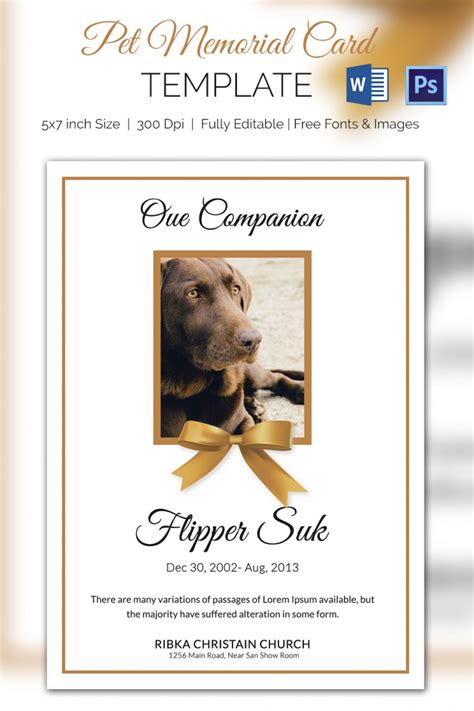 pet memorial card template word psd pages