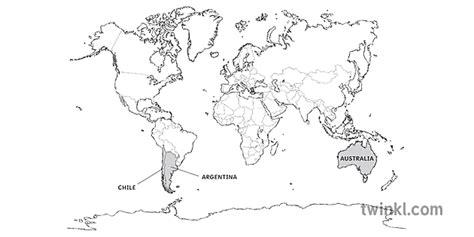 pasaules karte ar Argentīnu Čīli un Austrāliju kartes ...