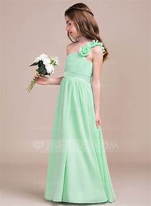 a line princess one shoulder floor length chiffon junior With junior wedding dresses