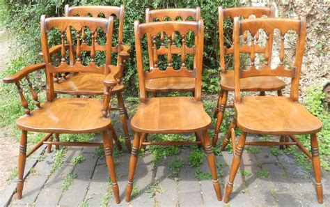 sold set of six style polished kitchen chairs