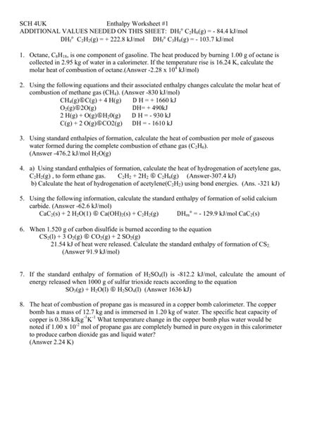Enthalpy Calculations Worksheet Switchconf