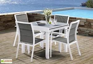 Salon de Jardin Modulo : Table Extensible + 4 Fauteuils (5 Coloris) Wilsa