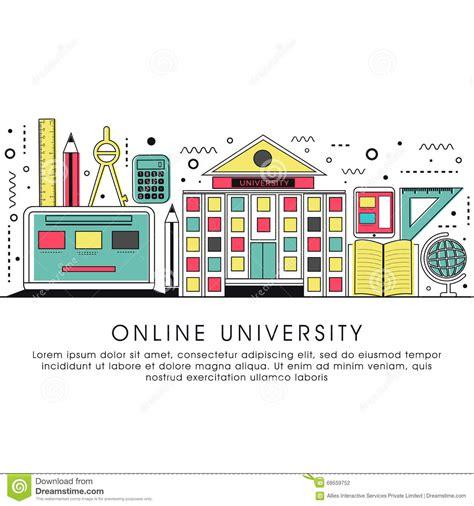 Flat Illustration For Online University Stock