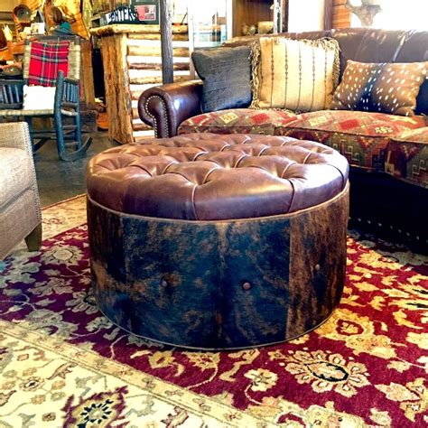 Cowhide Store by Cowhide Tufted Ottoman At Anteks Western Furniture Store