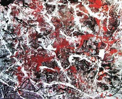 Red, white and black drip painting   Jackson Pollock art