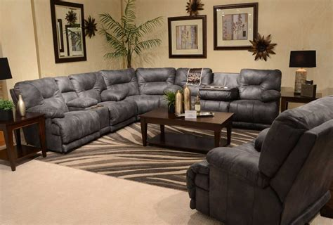Recliner Sofa With Console by Catnapper Voyager Sectional With Lay Flat 3 Recliner Sofa