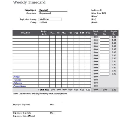time card calculator templates   ms word