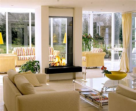 two sided fireplace interior design with modern contemporary two sided