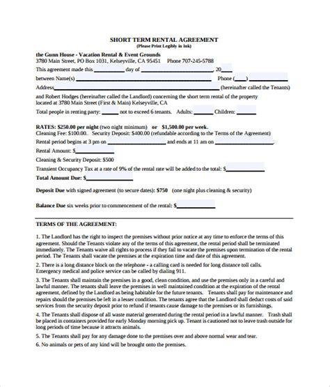 vacation rental agreements  sample  format