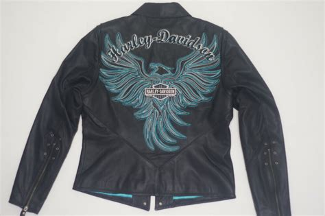 Harley Davidson Womens Arabelle Leather Jacket Turquoise
