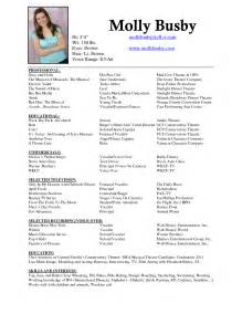 theatre acting resume format resume sle acting resume no experience dancer resume for acting resume template