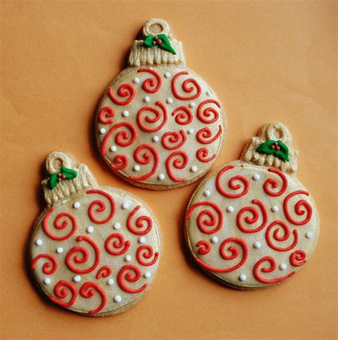 red swirl christmas ornament cookies sweet treats