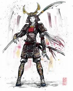 Samurai Girl in Armor Sumie style by MyCKs on DeviantArt
