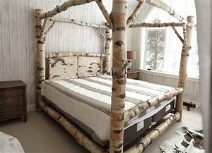 Bamboo Bed Frame With Canopy And White Grey Stripped